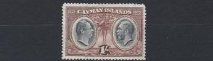 CAYMAN ISLANDS  1932   S G  92   1/-  BLACK BROWN      MH