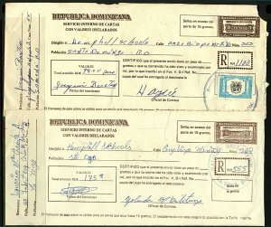 Dominican Republic 1990/2 trio of Registered covers with various rates, charges