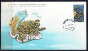 Kenya FDC card Sc 174 Cousteau Society Hawksbill Turtle L55
