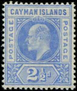 Cayman Islands SC# 5 SG# 5 Edward VII  2-1/2d MVLH wmk 2