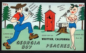 QSL QSO RADIO CARD Georgia Boy/Peaches, Whittier, CA (Q1224)