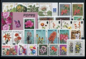 Kenia Micronesia Plants Flowers small accumulation of MNH stamps x28517
