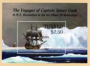 Tuvalu 1988 Voyages Cap.Cook/Ships  S/S Sc# 496 ovpt.Specimen  MNH