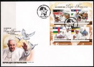 CENTRAL AFRICA  2016 POPE FRANCIS' AFRICAN TRIP SHEET FIRST DAY COVER