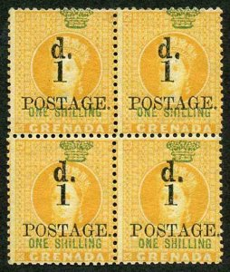 Grenada SG38 1886 1d on 1/- Orange SUPERB M/Mint Block of FOUR