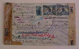 SOUTH WEST AFRICA 1943 THREE DIFF. CENSORS UMKOMAAS REGISTERED 15 CANCELS