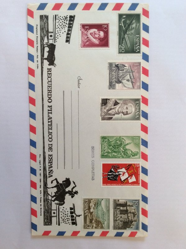 Spain assorted mint stamps on cover.