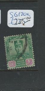 MALAYA JOHORE (P0910B) SULTAN $1.00  SG 120A  VFU