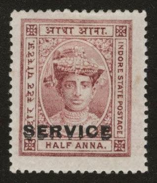 India - Indore Feudatory state Scott o1 MH* Official