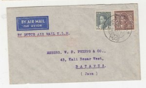 IRAQ, 1937 Airmail cover, Basrah to Neth. East Indies, 5f., & 50f.
