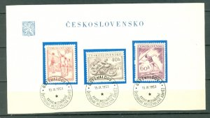CZECHOSLOVAKIA  1953 #611-613...SET on DAY of ISSUE SHEET..MINT VERY LIGHT H.