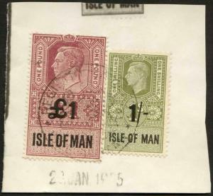 Isle of Man KGVI One Pound and 1/- Key Plate Type Revenues CDS on Piece