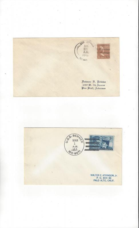 US Navy USS Benner DD 807  Two Covers