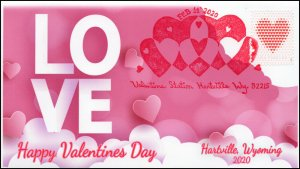 20-010, 2020, Valentines Day , Pictorial Postmark, Event Cover, Hartville WY,