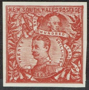 NEW SOUTH WALES 1888 CARRINGTON 20/- IMPERF PROOF