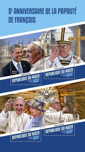 NIGER - 2018 - Pope Francis - Perf 4v Sheet - MNH