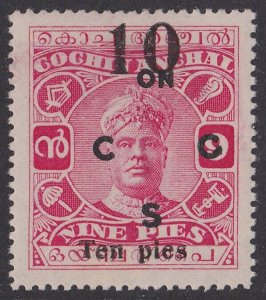 Cochin India : 1925 ON CGS 10p/9p MNH ** SCARCE!!