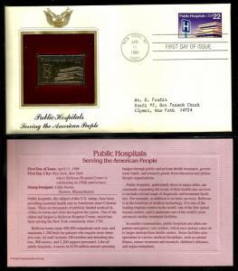 United States 1986 PCS FDC w/ 22 kt gold replica Scott# 2210