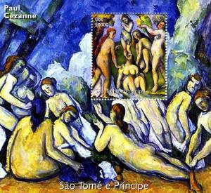 Sao Tome & Principe 2005 Paul CEZANNE NUDES PAINTINGS s/s Perforated mnh.vf