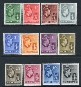 BRITISH VIRGIN ISLANDS-1938-47  A mounted mint set to £1 Sg 110a-121