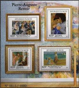NIGER 2015   PIERRE-AUGUSTE RENOIR  SHEET OF FOUR  1000 EXIST MINT  NH