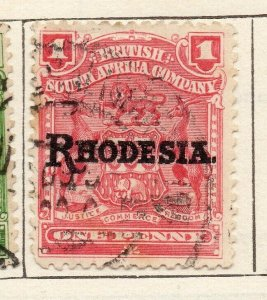 Rhodesia 1909 Early Issue Fine Used 1d. Optd NW-11491