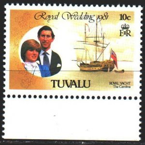Tuvalu. 1981. 145À from the series. Princess Diana, Prince Charles, Sailboat...