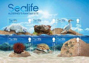 Stamps 2020. Alderney. - Marine life in the Ramsar region. Souvenir Sheet