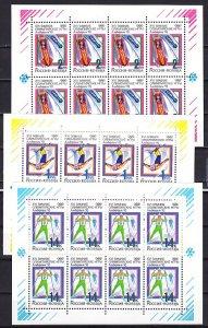 Russia, Scott cat. 6056a-6058a. Albertville Winter Olympics. 3 Sheets of 8. ^