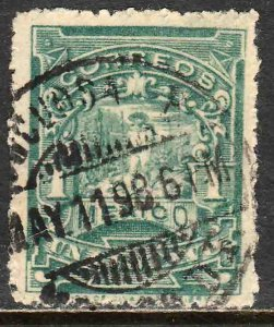 MEXICO 257, 1cent MULITA WMK RM INTERLACED. USED. F-VF. (155)
