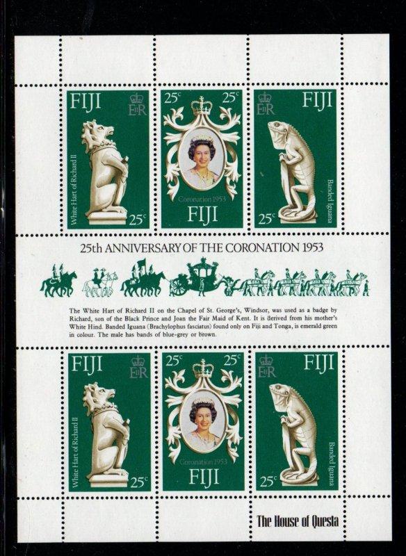 Fiji Sc 384 1978 25th Anniversary Coronation of QE II stamp sheet mint NH