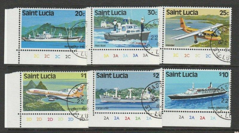 St Lucia 1984 defs, Change of Wmk, VFU/CTO cylinder corner copies, SG 690/8