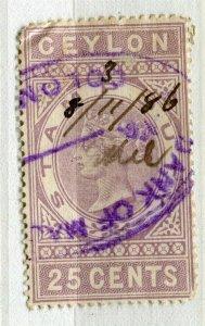 CEYLON; 1870s early classic QV Reveue issue fine used 25c. value