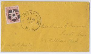 SCOTT# 65 ON COVER NEGATIVE 5 PT STAR IN SHIELD FANCY CANCEL, MA AUG 29 PMK 1861