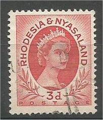 RHODESIA & NYASALAND, 1954, used 3p, Queen Elizabeth II, Scott 144