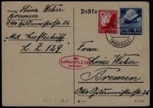 Germany Zeppelin card LZ 129 23.3.36 creased corner