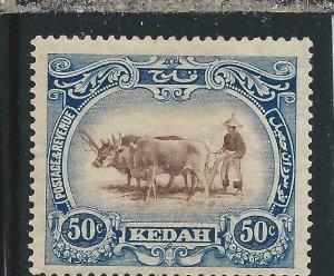KEDAH 1921-32 50c BROWN & GREY-BLUE CROWN TO LEFT MM SG 36bw CAT £55