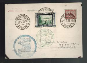 1933 Italy Graf Zeppelin Postcard Cover to Austria LZ 127 # C42 Vatican Franking