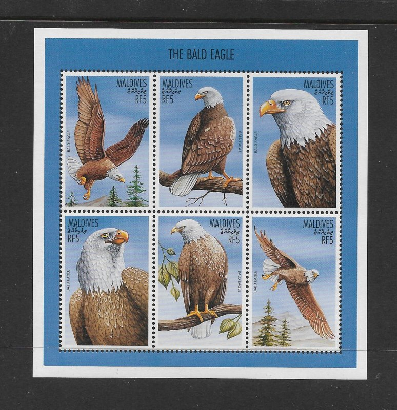 BIRDS - MALDIVES #2208  BALD EAGLES  MNH
