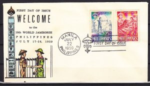 Philippines, Scott cat. B10. 10th World Scout Jamboree issue. First day cover. ^
