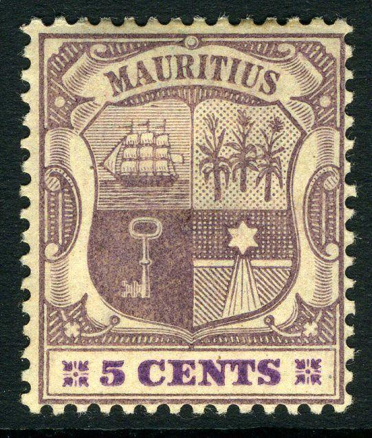 MAURITIUS-1900-05 5c Dull Purple & Bright Purple/Buff Sg 144 LIGHTLY M/M V9508