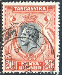 KUT 1935 20c black and orange used