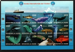 GUINEA 1460 MNH YEAR OF THE OCEANS, SHEET 12, 1998