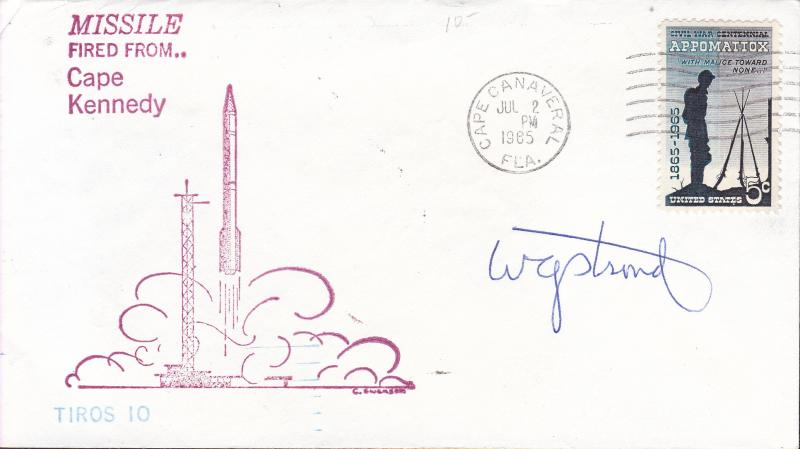 United States 1965 Signed Space Cover Tiros-10 meteorological Chief at Golddard.