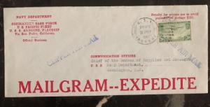 1941 US Navy Dept USS Argonne Flagship Cover To Washington DC Mailgram Express