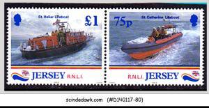 JERSEY - 1999 ROYAL NATIONAL LIFEBOAT / SHIPS - SE-TENANTX2 MNH