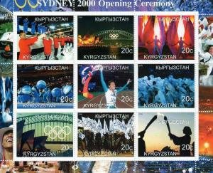 Kyrgyzstan 2000 SYDNEY OLYMPIC OPENING CEREMONY Sheet (9) Perforated Mint (NH)