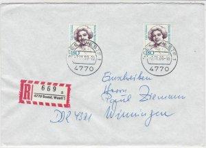 Germany 1989 Famous German Women Lotte Lehmann Registered Stamps Cover Ref 24614
