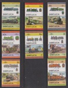 1985 St. Lucia Scott # 711-718 Locomotives MNH