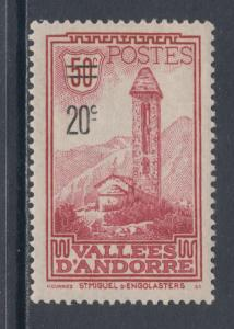 Andorra, French Sc 64 MNH. 1935 20c surcharge on 50c Monastery, VF